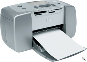 Hewlett Packard's Photosmart 145 photo printer. Courtesy of Hewlett Packard, with modifications by Michael R. Tomkins. Click for a bigger picture!