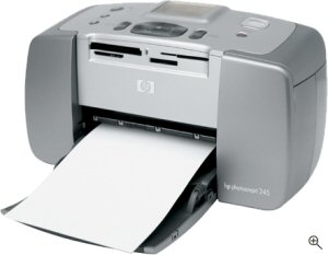 Hewlett Packard's Photosmart 245 photo printer. Courtesy of Hewlett Packard, with modifications by Michael R. Tomkins. Click for a bigger picture!