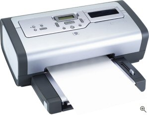 Hewlett Packard's Photosmart 7660 photo printer. Courtesy of Hewlett Packard, with modifications by Michael R. Tomkins. Click for a bigger picture!