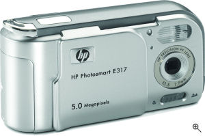HP's Photosmart E317 digital camera. Courtesy of HP, with modifications by Michael R. Tomkins. Click for a bigger picture!