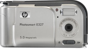 Hewlett Packard's Photosmart E327 digital camera. Courtesy of Panasonic, with modifications by Michael R. Tomkins.