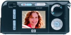 HP's Photosmart M307 digital camera. Courtesy of Hewlett Packard, with modifications by Michael R. Tomkins. Click for a bigger picture!