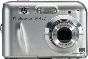 Hewlett Packard's Photosmart M437 digital camera. Courtesy of Hewlett Packard, with modifications by Michael R. Tomkins. Click for a bigger picture!