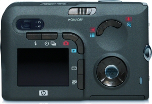 HP's Photosmart R607 digital camera. Courtesy of Hewlett Packard, with modifications by Michael R. Tomkins. Click for a bigger picture!