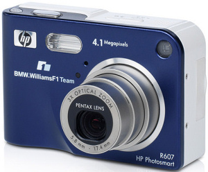 HP's Photosmart R607 digital camera, BMW Williams F1 Team Special Edition. Courtesy of HP, with modifications by Michael R. Tomkins. Click for a bigger picture!