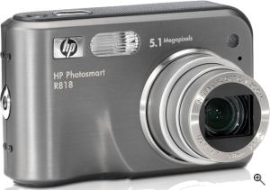 Hewlett Packard's Photosmart R818 digital camera. Courtesy of Hewlett Packard, with modifications by Michael R. Tomkins. Click for a bigger picture!
