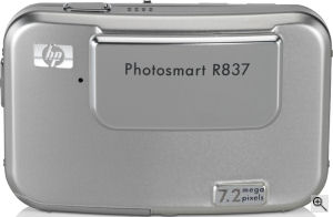 Hewlett Packard's Photosmart R837 digital camera. Courtesy of Hewlett Packard, with modifications by Michael R. Tomkins. Click for a bigger picture!