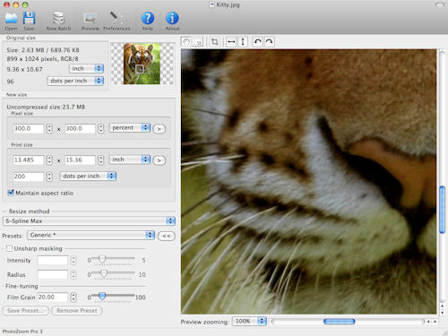 BenVista's PhotoZoom Pro 3 on the Mac OS platform. Screenshot provided by BenVista.