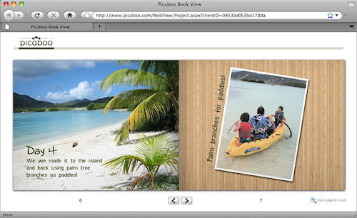 Picaboo X: Viewing a photo book online in Apple's Safari web browser. Screenshot provided by Picaboo Corp. Click for a bigger picture!
