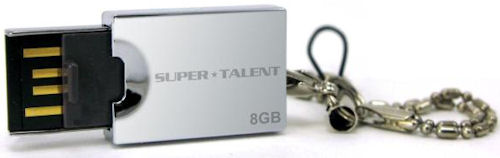 Super Talent's Pico E Silver USB drive, 8GB version shown. Photo provided by Super Talent Technology Corp. Click for a bigger picture!