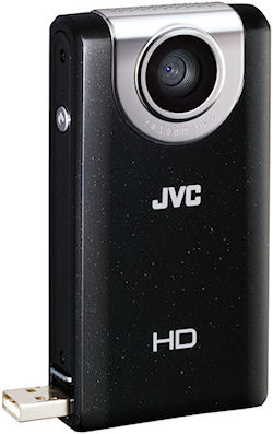 JVC's PICSIO GC-FM2 pocket camera, front view. Photo provided by JVC U.S.A. Click for a bigger picture!
