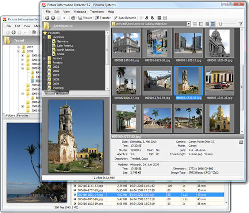 Picture Information Extractor v5.2. Screenshots provided by Picmeta Systems. Click for a bigger picture!