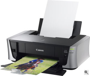 Canon's PIXMA iP3500 photo printer. Courtesy of Canon, with modifications by Michael R. Tomkins. Click for a bigger picture!