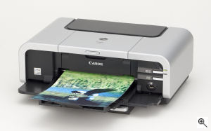 Canon's PIXMA iP5200 printer. Courtesy of Canon, with modifications by Michael R. Tomkins. Click for a bigger picture!