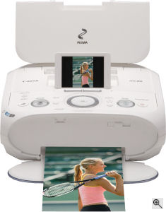 Canon's PIXMA Mini260 printer. Courtesy of Canon, with modifications by Michael R. Tomkins. Click for a bigger picture!