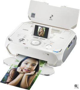 Canon's PIXMA mini320 photo printer. Courtesy of Canon, with modifications by Michael R. Tomkins. Click for a bigger picture!