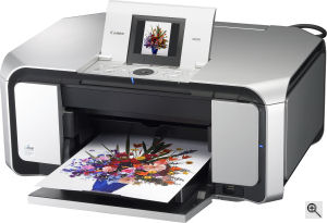 Canon's PIXMA MP970 photo printer. Courtesy of Canon, with modifications by Michael R. Tomkins. Click for a bigger picture!