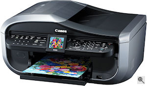 Canon's Pixma MX850 printer. Courtesy of Canon, with modifications by Michael R. Tomkins. Click for a bigger picture!