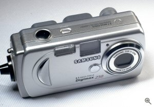 Samsung's Digimax 250 digital camera. Copyright © 2004, The Imaging Resource. All rights reserved. Click for a bigger picture!