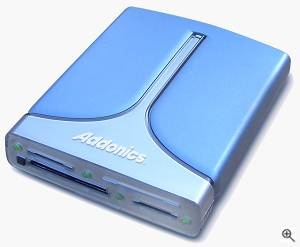 Addonics' Pocket DigiDrive flash media reader. Courtesy of Addonics, with modifications by Michael R. Tomkins. Click for a bigger picture!