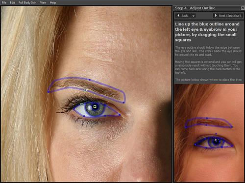 Adjusting the facial mask in Portrait Pro 10. Screenshot by Imaging Resource, demonstration image courtesy Kelley Martin Clough, provided by Anthropics Technology Ltd. Click for a bigger picture!