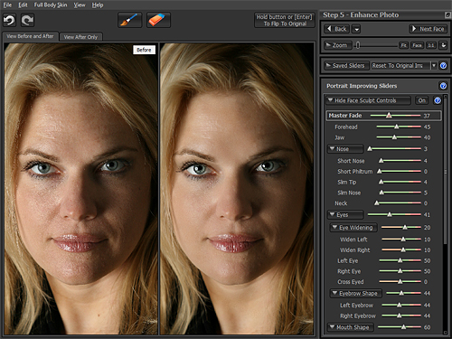 Some of the face sculpting controls in Portrait Pro v10. In the images at left, the only change made was to apply the Young Woman Natural preset. Screenshot by Imaging Resource, demonstration image courtesy Kelley Martin Clough, provided by Anthropics Technology Ltd. Click for a bigger picture!