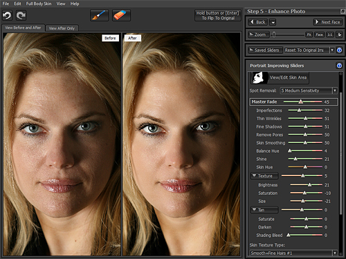 Portrait Pro v10's skin controls sliders. In the images at left, the Young Woman Glamorous preset has been applied with face sculpting disabled. Screenshot by Imaging Resource, demonstration image courtesy Kelley Martin Clough, provided by Anthropics Technology Ltd. Click for a bigger picture!