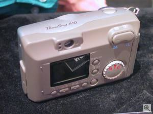 Canon's PowerShot A10 digital camera, rear left  quarter view. Copyright (c) 2001, Michael R. Tomkins, all rights reserved. Click for a bigger picture!
