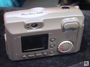 Canon's PowerShot A20 digital camera, rear left  quarter view. Copyright (c) 2001, Michael R. Tomkins, all rights reserved. Click for a bigger picture!