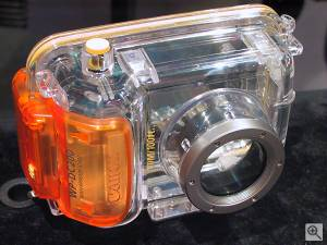 Canon's WP-DC200 underwater housing for the  PowerShot A10 and A20 digital cameras, front view. Copyright (c) 2001, Michael R. Tomkins, all rights reserved. Click for a bigger  picture!