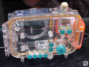 Canon's WP-DC200 underwater housing for the  PowerShot A10 and A20 digital cameras, rear view. Copyright (c) 2001, Michael R. Tomkins, all rights reserved. Click for a bigger  picture!