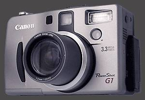 Canon's PowerShot G1 digital camera, front left quarter view. Courtesy of Canon.