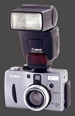 Canon's PowerShot G1 digital camera with Speedlite 420EX flash attached. Courtesy of Canon.