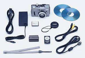Canon's PowerShot G1 digital camera and supplied accessories. Courtesy of Canon.