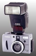 Canon's PowerShot G1, front view with flash attached. Courtesy of Canon, with modifications copyright (c) 2000, The Imaging Resource.