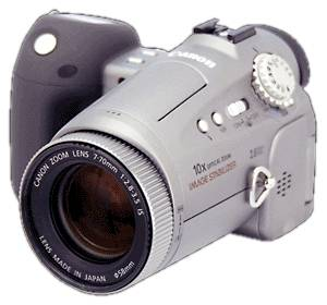 Canon's PowerShot Pro90 IS digital camera, front left quarter view. Courtesy of Canon.