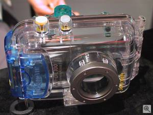 Canon's WP-DC100 underwater housing for the  PowerShot S300 Digital ELPH digital camera, front view. Copyright (c) 2001, Michael R. Tomkins, all rights reserved. Click for a bigger  picture!
