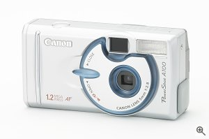 Canon's PowerShot A100 digital camera. Courtesy of Canon Inc., with modifications by Michael R. Tomkins. Click for a bigger picture!