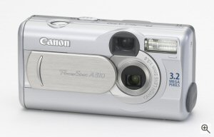 Canon's PowerShot A310 digital camera. Courtesy of Canon, with modifications by Michael R. Tomkins. Click for a bigger picture!