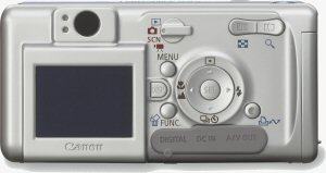 Canon's PowerShot A400 digital camera. Courtesy of Canon, with modifications by Michael R. Tomkins. Click for a bigger picture!