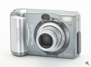 Canon's PowerShot A40 digital camera. Courtesy of Canon Inc., with modifications by Michael R. Tomkins. Click for a bigger picture!