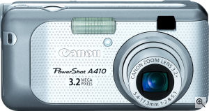 Canon's PowerShot A410 digital camera. Courtesy of Canon, with modifications by Michael R. Tomkins. Click for a bigger picture!