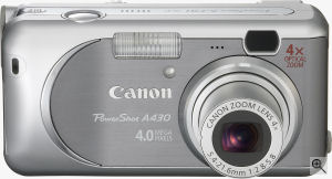 Canon's PowerShot A430 digital camera. Courtesy of Canon, with modifications by Michael R. Tomkins. Click for a bigger picture!