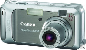 Canon's PowerShot A460 digital camera. Courtesy of Canon, with modifications by Michael R. Tomkins. Click for a bigger picture!