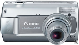 Canon's PowerShot A470 digital camera. Courtesy of Canon, with modifications by Michael R. Tomkins. Click for a bigger picture!