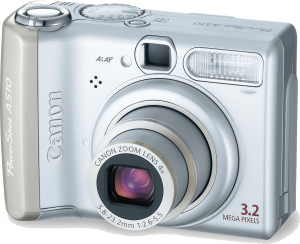 Canon's PowerShot A510 digital camera. Courtesy of Canon, with modifications by Michael R. Tomkins. Click for a bigger picture!