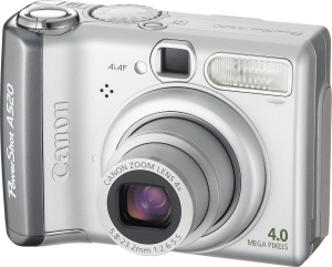 Canon's PowerShot A520 digital camera. Courtesy of Canon, with modifications by Michael R. Tomkins. Click for a bigger picture!