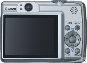 Canon's PowerShot A560 digital camera. Courtesy of Canon, with modifications by Michael R. Tomkins. Click for a bigger picture!