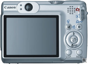 Canon's PowerShot A570 digital camera. Courtesy of Canon, with modifications by Michael R. Tomkins. Click for a bigger picture!