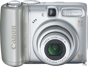 Canon's PowerShot A580 digital camera. Courtesy of Canon, with modifications by Michael R. Tomkins. Click for a bigger picture!
